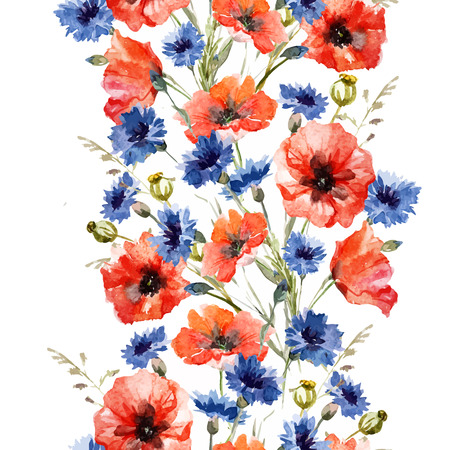 cornflowers: Beautiful pattern with nice watercolor poppy and cornflowers