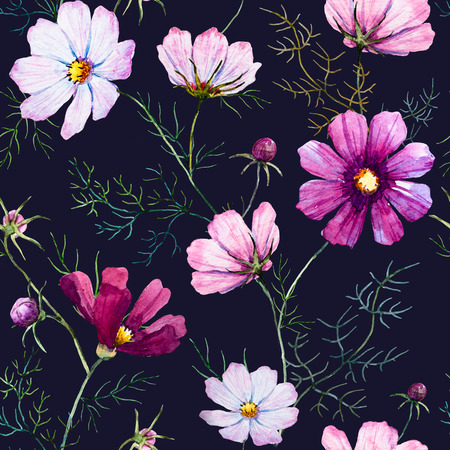 Beautiful pattern with nice watercolor hand drawn wild flowers 版權商用圖片