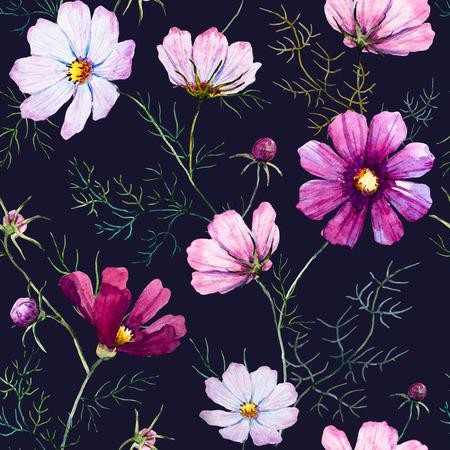 eleganz: Schöne Muster mit schönen Aquarell von Hand gezeichnet wilden Blumen