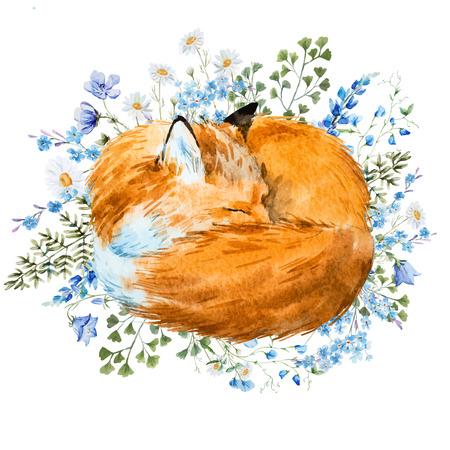 Beautiful image with nice watercolor hand drawn sleeping fox