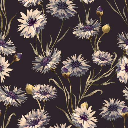 cornflowers: Beautiful pattern with nice watercolor hand drawn cornflowers