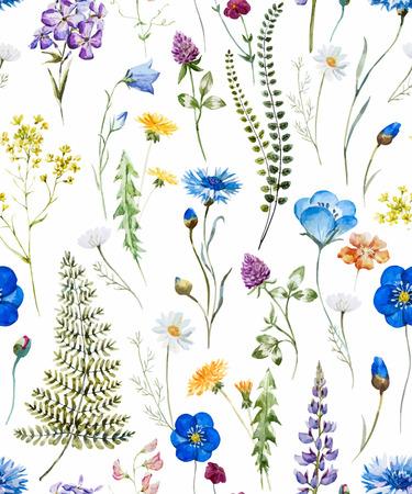 Beautiful pattern with nice watercolor hand drawn wild flowers Ilustração