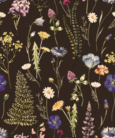 Beautiful pattern with nice watercolor hand drawn wild flowers Vectores