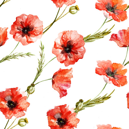 design background: Beautiful pattern with nice watercolor poppy flowers Stock Photo