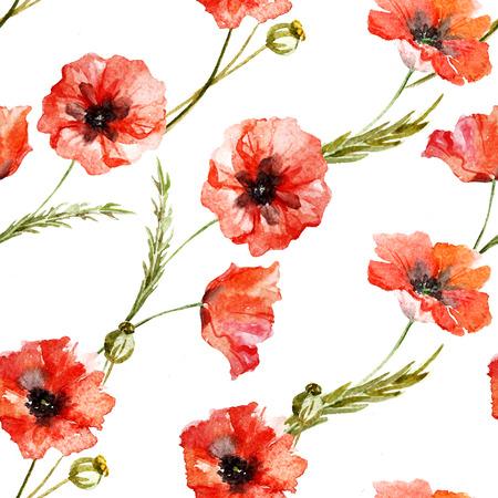poppy flowers: Beautiful pattern with nice watercolor poppy flowers Stock Photo