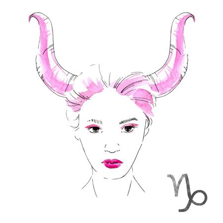 nice girl: Beautiful image with nice watercolor horoscope girl Capricorn