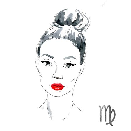 nice girl: Beautiful image with nice watercolor horoscope girl Virgo