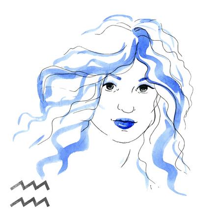 nice girl: Beautiful image with nice watercolor horoscope girl Aquarius