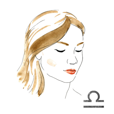 nice girl: Beautiful image with nice watercolor horoscope girl Libra Illustration
