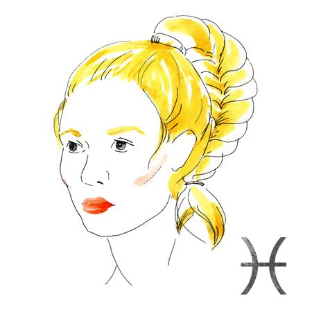 nice girl: Beautiful image with nice watercolor horoscope girl Pisces