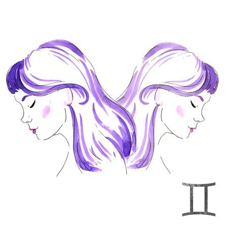 nice girl: Beautiful image with nice watercolor horoscope girl Gemini