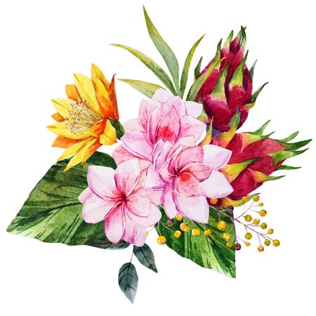 Bella composizione con fiori tropicali bel acquerello