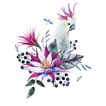 tropical flowers: Beautiful composition with nice watercolor tropical flowers and white parrot Illustration