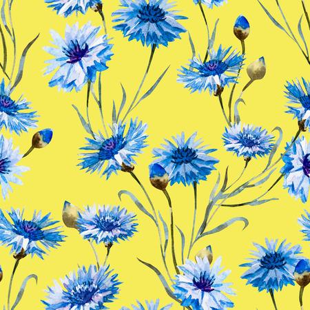 Cornflower: Beautiful pattern with nice watercolor hand drawn cornflowers