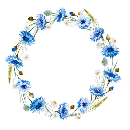 Cornflower: Beautiful image with nice watercolor cornflower wreath