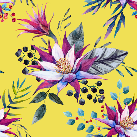 exotic flowers: Beautiful pattern with nice watercolor tropical dragon flowers
