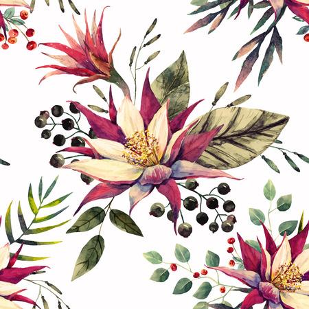 Beau motif avec une belle aquarelle des fleurs de dragon tropical