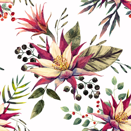 tropical flowers: Beautiful pattern with nice watercolor tropical dragon flowers