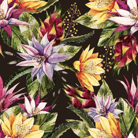 Mooi patroon met mooie aquarel tropische draak bloemen Vector Illustratie