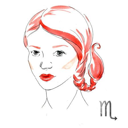 nice girl: Beautiful image with nice watercolor horoscope girl Scorpio Stock Photo