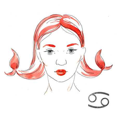famous people: Beautiful image with nice watercolor horoscope girl Cancer