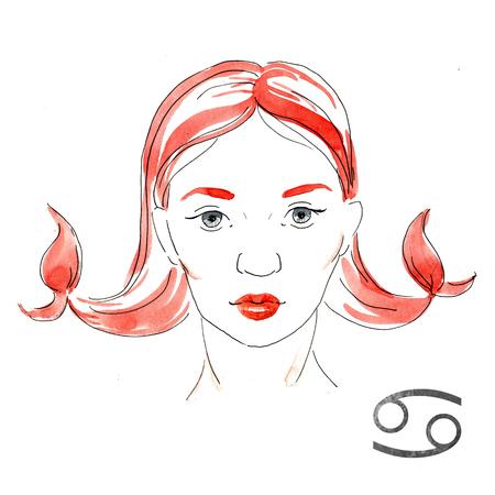 nice girl: Beautiful image with nice watercolor horoscope girl Cancer