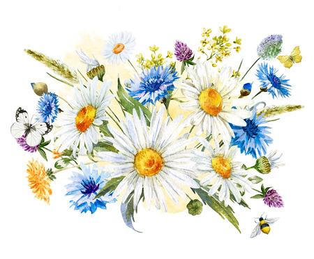 schmetterlinge blau wasserfarbe: Schöne Komposition mit Hand gezeichnet Aquarell wilden Blumen