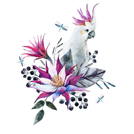 Mooie compositie met mooie aquarel tropische bloemen en witte papegaai Stockfoto