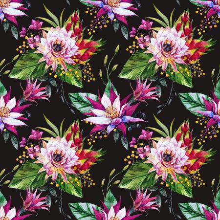 saguaro: Beautiful pattern with nice watercolor tropical dragon flowers