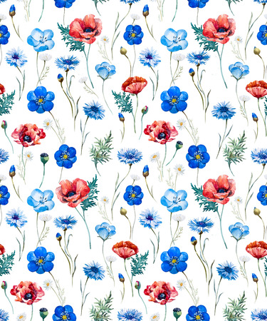 new plant: Beautiful pattern with nice watercolor hand drawn wild flowers Stock Photo