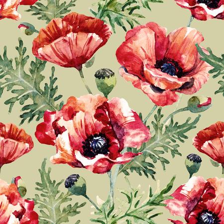 poppy flowers: Beautiful pattern with nice hand drawn watercolor poppy flowers