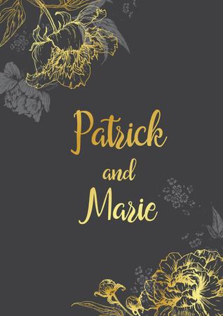 peonies: Beautiful wedding invitation with nice graphic peonies