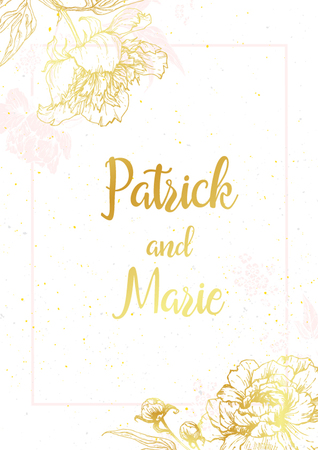 Beautiful wedding invitation with nice graphic peonies