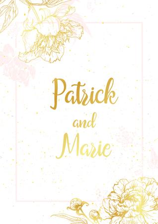 Piękne zaproszenia ślubne z ładnymi piwonie graficznych