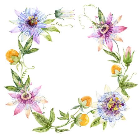 Hermosa corona de flores con acuarela passionflowers agradables y frutas