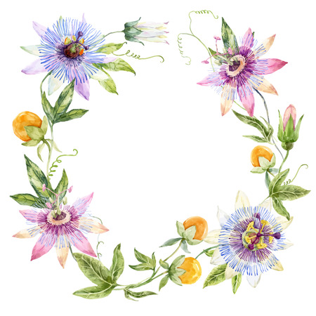 Beautiful wreath with nice watercolor passionflowers and fruits