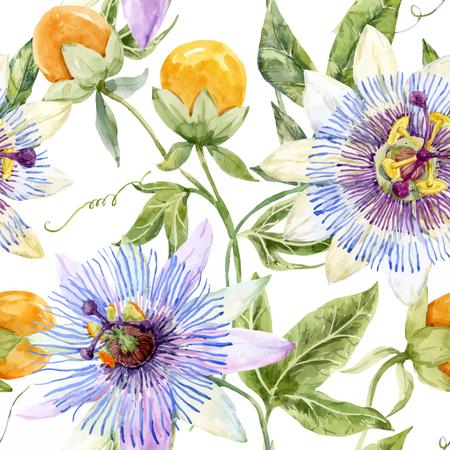 Beau motif de fleurs de la passion belle aquarelle Vecteurs