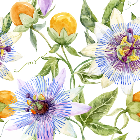 Beautiful pattern with nice watercolor passion flowers Vetores