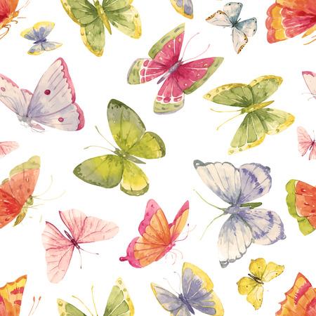 schmetterlinge blau wasserfarbe: Schöne Muster mit schönen Aquarell bunte Schmetterlinge