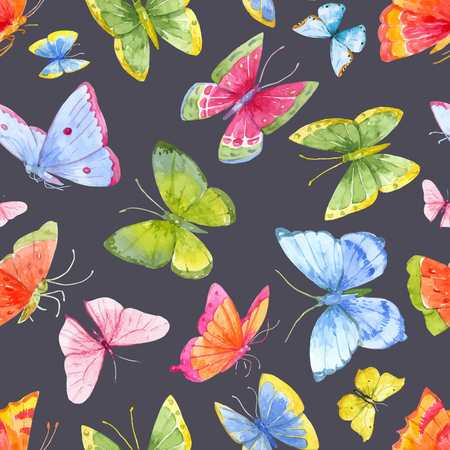 green butterfly: Beautiful pattern with nice watercolor colourful butterflies