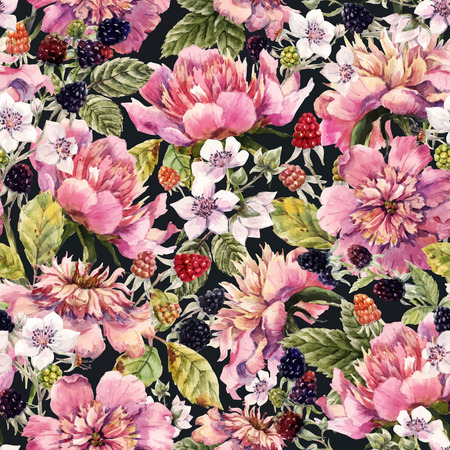 famous paintings: Beautiful pattern with nice watercolor peonies and berries