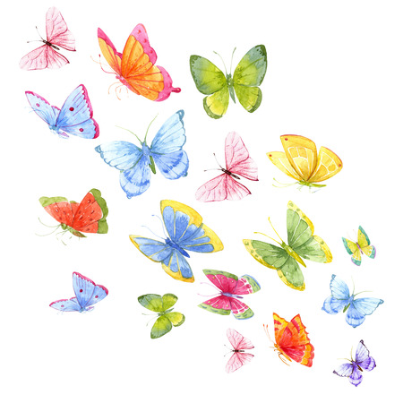 schmetterlinge blau wasserfarbe: Schönes Bild mit vielen bunten Aquarell Schmetterlinge