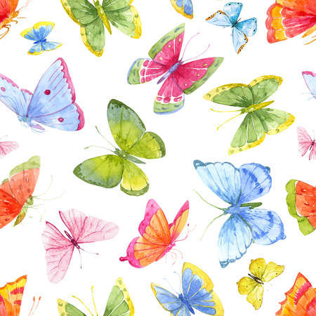 Beautiful pattern with nice watercolor colourful butterflies