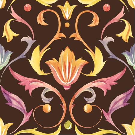 Beau motif avec belle ornement aquarelle victorian