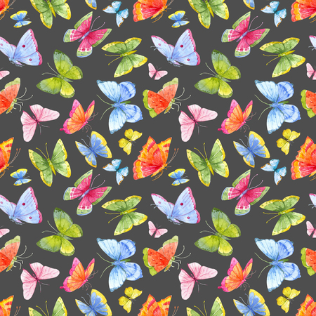 insect flies: Beautiful pattern with nice watercolor colourful butterflies