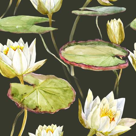 lotus flowers: Beautiful pattern with nice watercolor lotus flowers