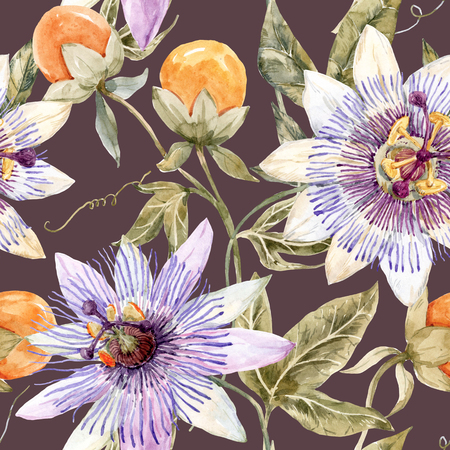 exotic flowers: Beautiful pattern with nice watercolor passion flowers Stock Photo