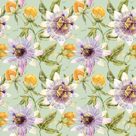 purple flower: Beautiful pattern with nice watercolor passion flowers Stock Photo