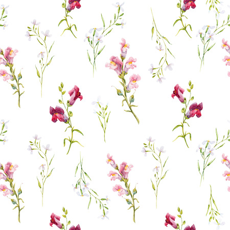 snapdragon: Beautiful pattern with hand drawn watercolor snapdragon flowers