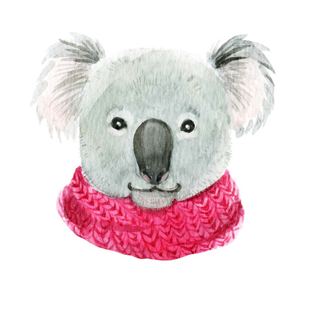 Beautiful hand drawn watercolor koala in a pink scarf